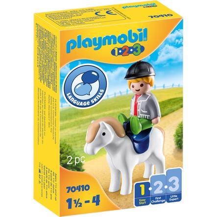 PLAYMOBIL® 1 2 3 Figurine garçon avec poney 70410