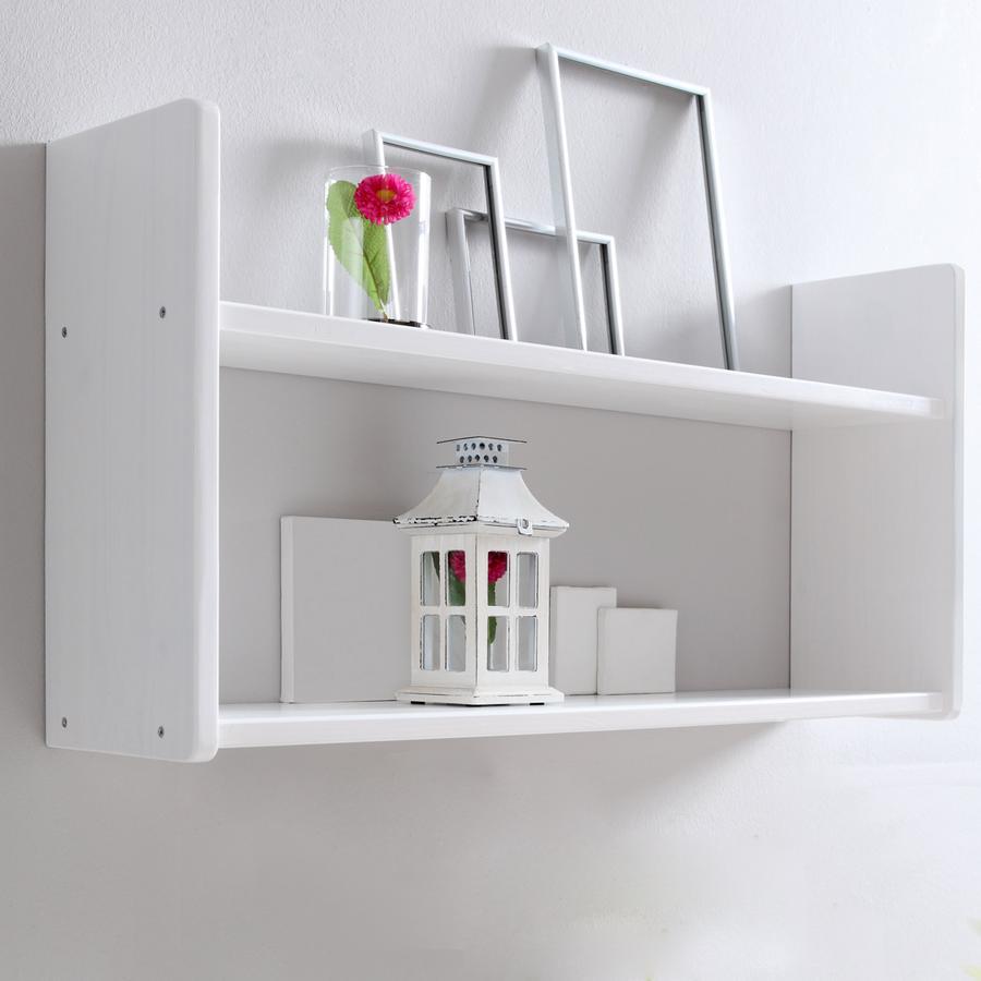 TICAA Mensola da parete in Pino Bianco 2 livelli, stretta