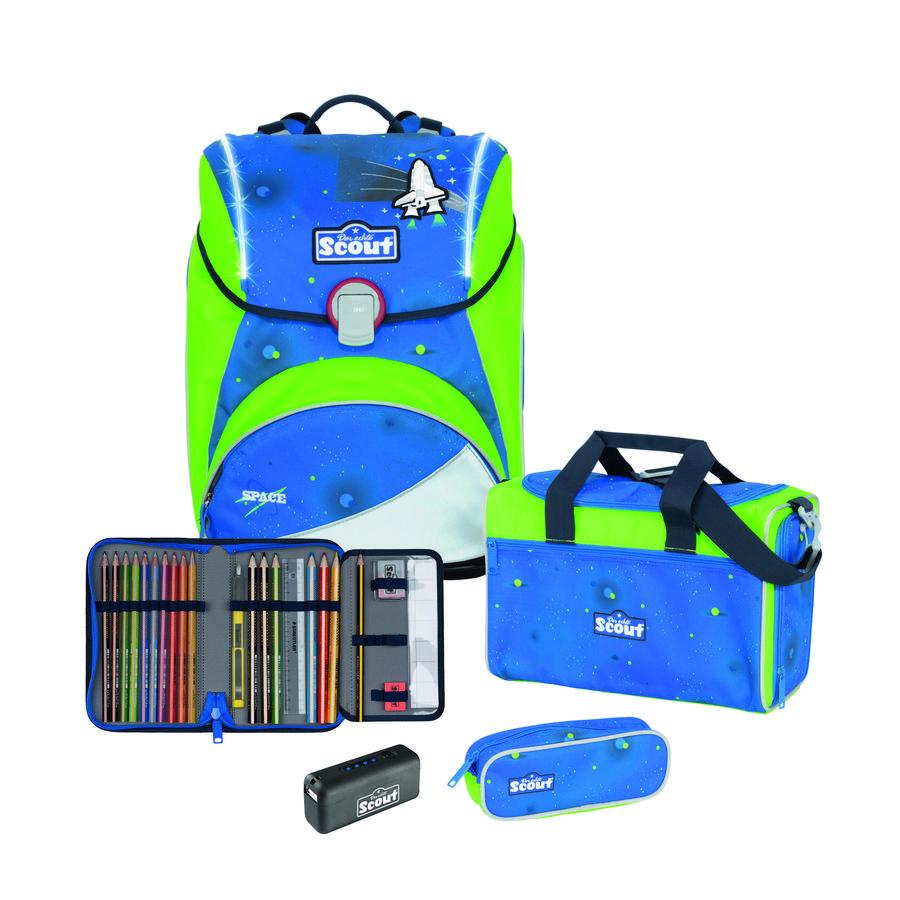 Scout Cartable d'école enfant Alpha Exklusiv Safety Light Blue Space 4 pièces