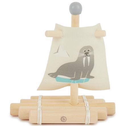 bieco dřevěný vor s plachtou