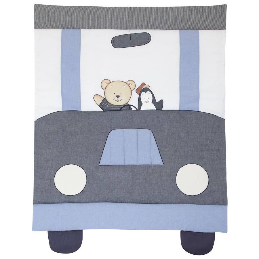 ALVI Krabbeldecke mit Applikation Car Driver blau