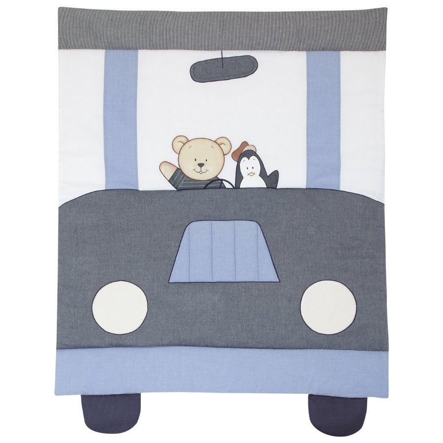 ALVI Play Blanket with applique Car Driver, blue