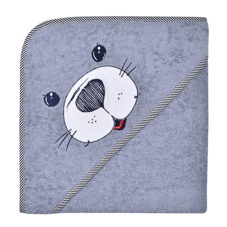 WÖRNER SÜDFROTTIER Asciugamano con cappuccio sigillo grigio 100 x 100 cm