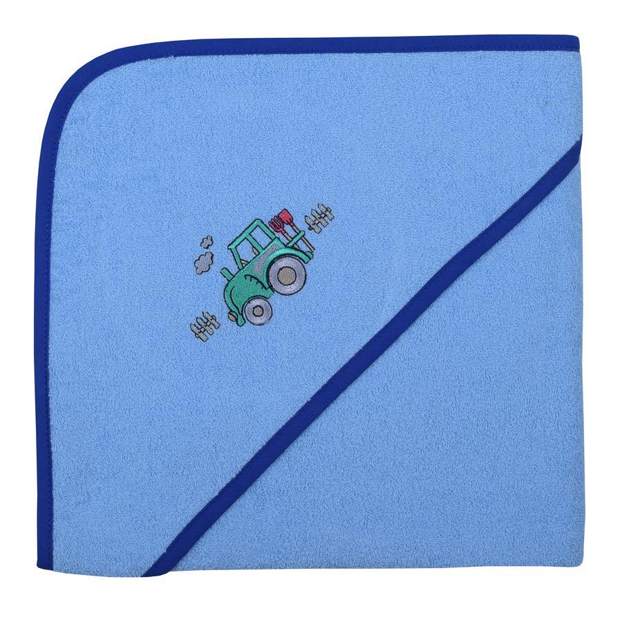 WÖRNER SÜDFROTTIER Toalla de baño con capucha tractor azul claro 100 x 100 cm