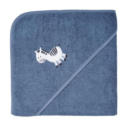 WÖRNER SÜDFROTTIER Badhanddoek met kap zebra donkerblauw 100 x 100 cm