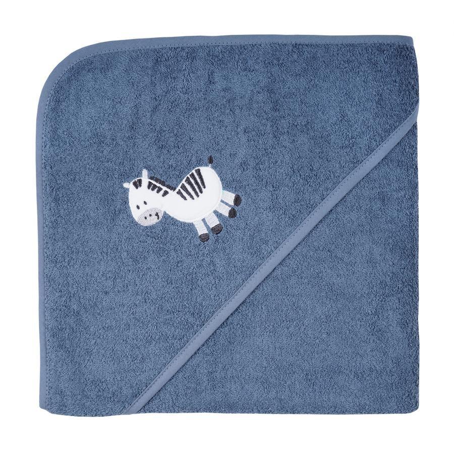 WÖRNER SÜDFROTTIER Toalla de baño con capucha cebra azul oscuro 100 x 100 cm