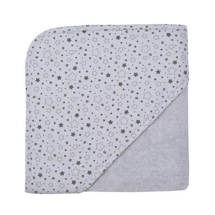 WÖRNER SÜDFROTTIER Badehåndklæde med hætte stjerner lysegrå 80 x 80 cm