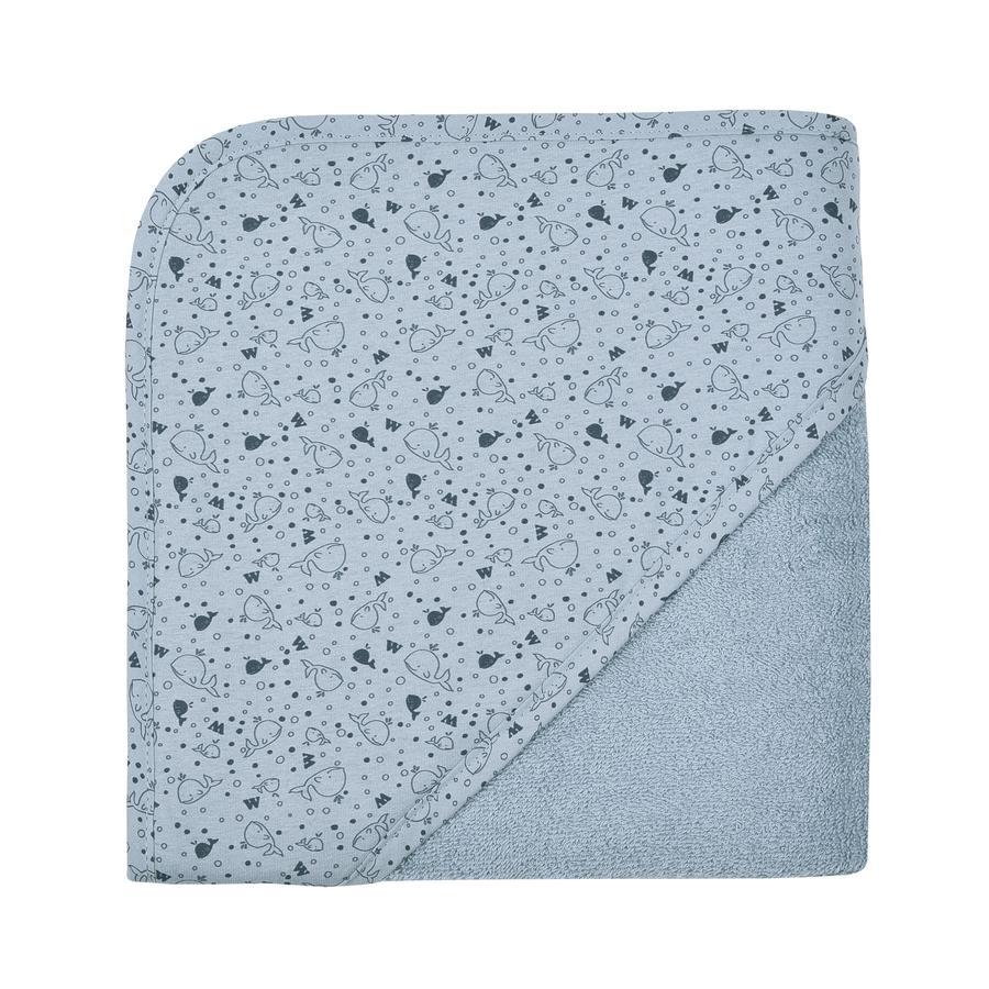 WÖRNER SÜDFROTTIER Badehåndklæde med hætte hval stålblå 80 x 80 cm