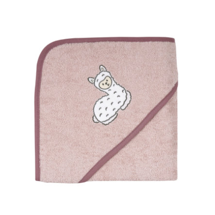 WÖRNER SÜDFROTTIER Kapuzenbadetuch Lama rosa 80 x 80 cm