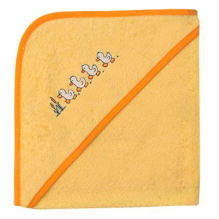 WÖRNER SÜDFROTTIER Kapuzenbadetuch Entchen gelb 80 x 80 cm