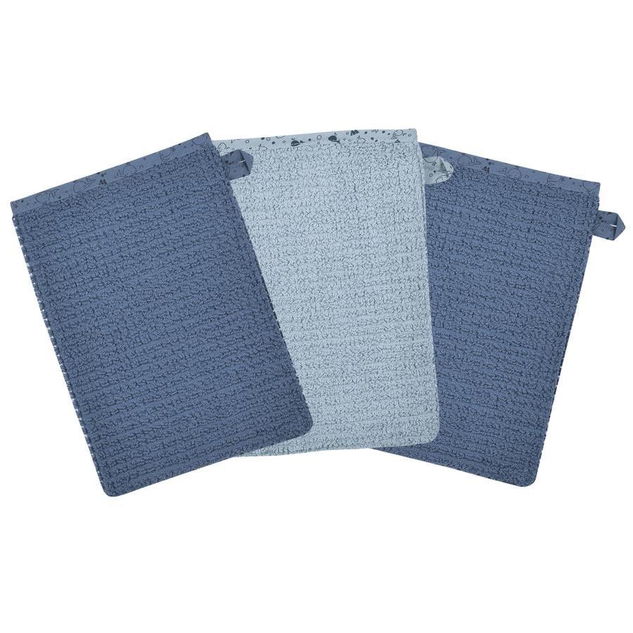 WÖRNER SÜDFROTTIER Waschhandschuh blau 3er Pack