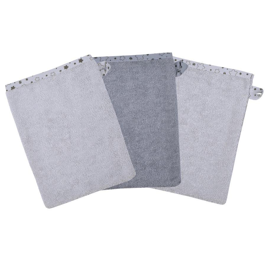 WÖRNER SÜDFROTTIER Waschhandschuh Sterne grau 3er Pack