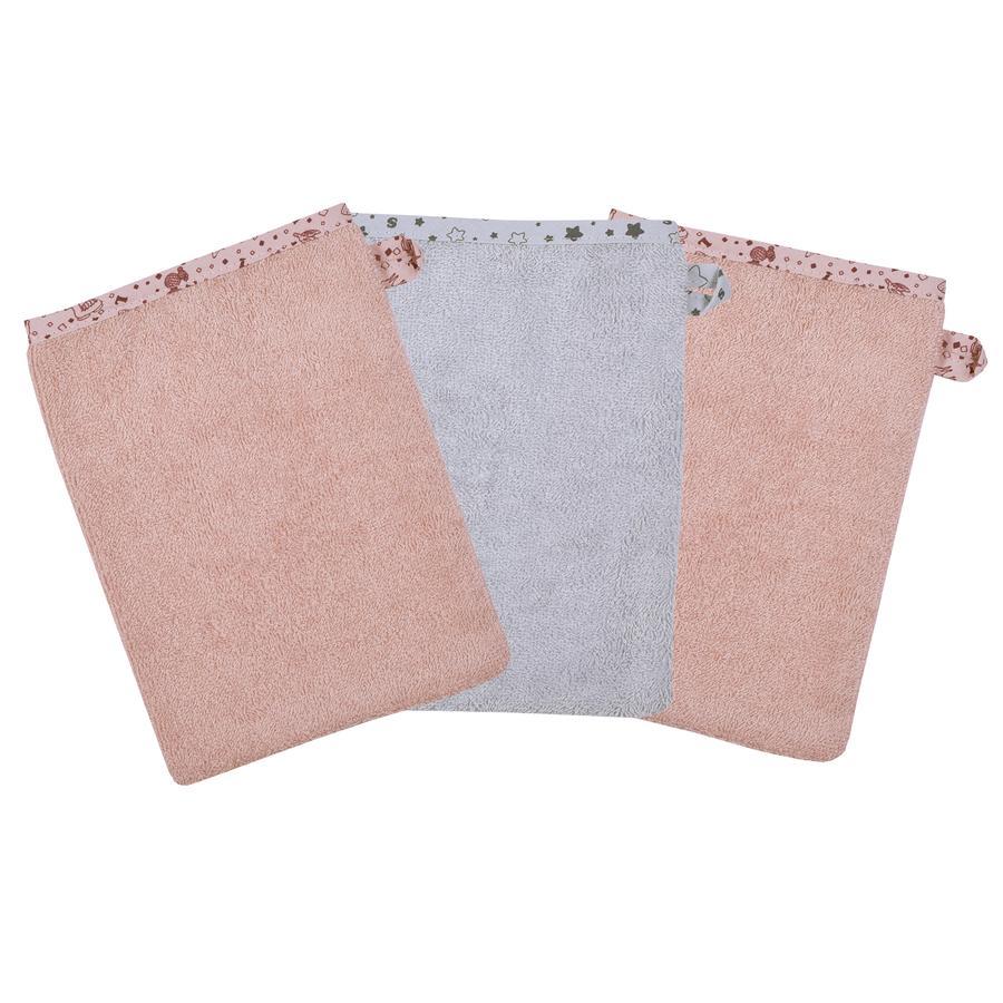 WÖRNER SÜDFROTTIER Guante de lavado de llamas rosa 3-pack