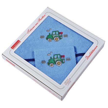 WÖRNER SÜDFROTTIER Set Kapuzenbadetuch und Waschhandschuh Taktor hellblau 80 x 80 cm