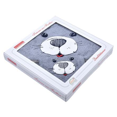 WÖRNER SÜDFROTTIER Set badhanddoek met kap en washandseal grijs 80 x 80 cm