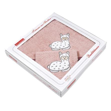 WÖRNER SÜDFROTTIER Set Kapuzenbadetuch und Waschhandschuh Lama rosa 80 x 80 cm