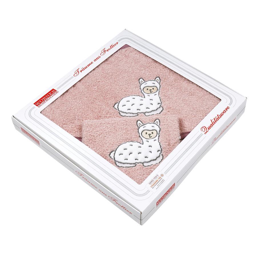 WÖRNER SÜDFROTTIER Set badhanddoek en washandje met kap Lama roze 80 x 80 cm