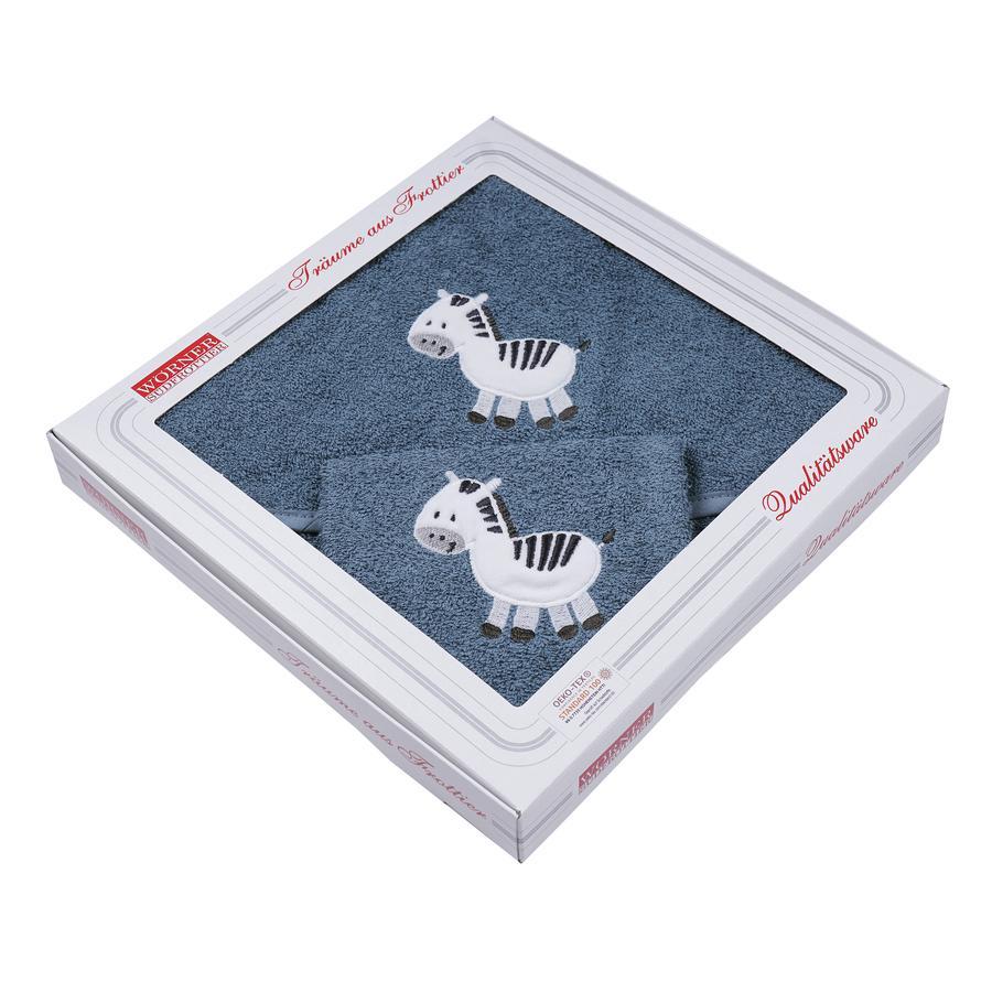WÖRNER SÜDFROTTIER Set Kapuzenbadetuch und Waschhandschuh Zebra dunkelblau 80 x 80 cm