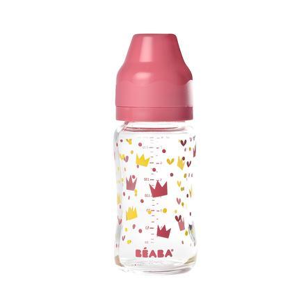 BEABA  Kojenecká láhev 240ml žlutá/růžová korunka