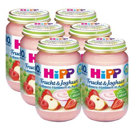 HiPP Bio Frucht & Joghurt Erdbeere-Himbeere in Apfel 6 x 160g