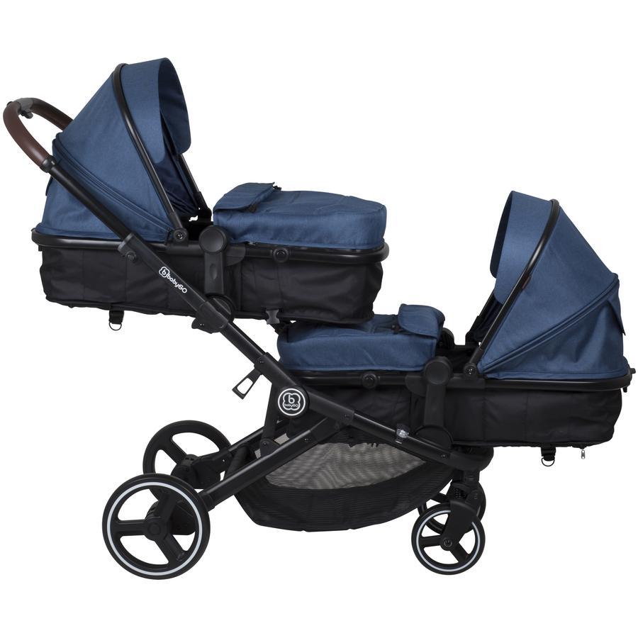 babyGO Geschwisterwagen Twiner Blue