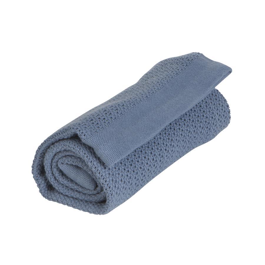 VINTER&BLOOM Kuscheldecke Soft Grid GOTS Denim Blue