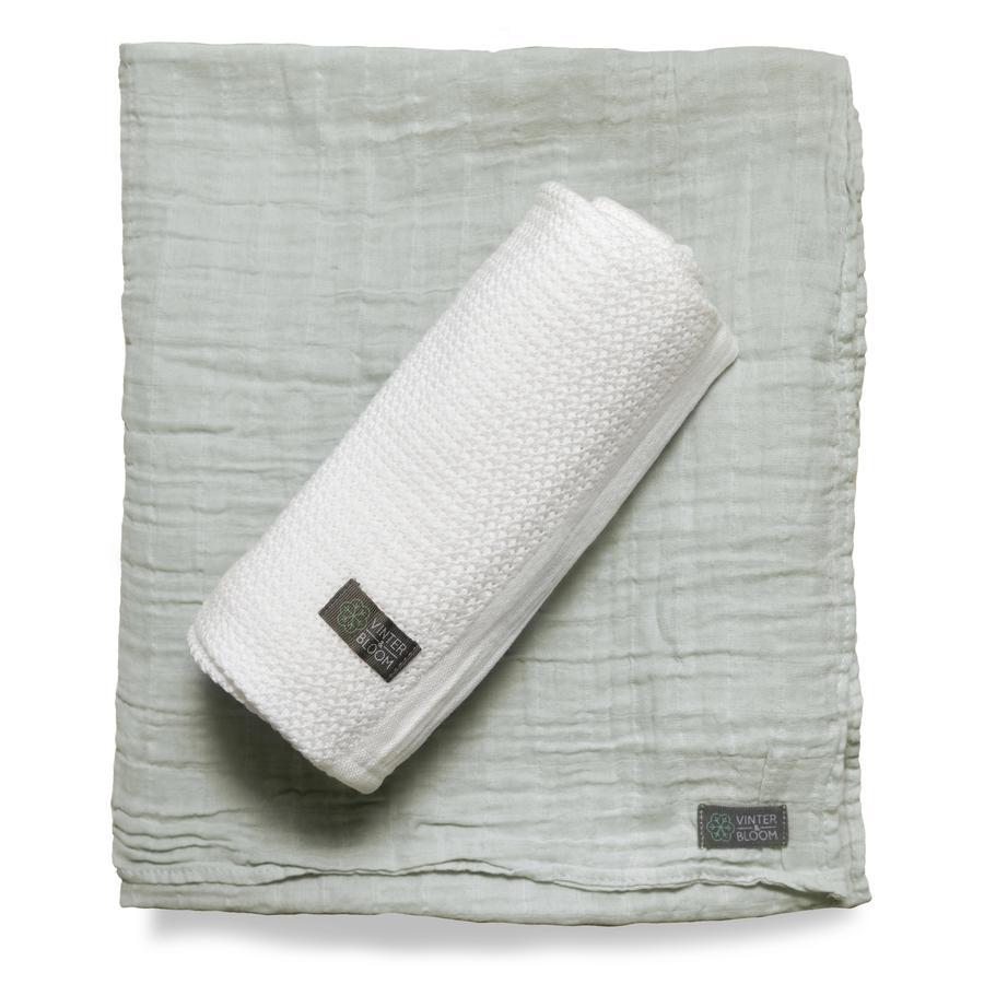 VINTER&BLOOM Geschenkset Kuscheldecke Soft Grid & Musselindecke  GOTS Bright White/Sage Green