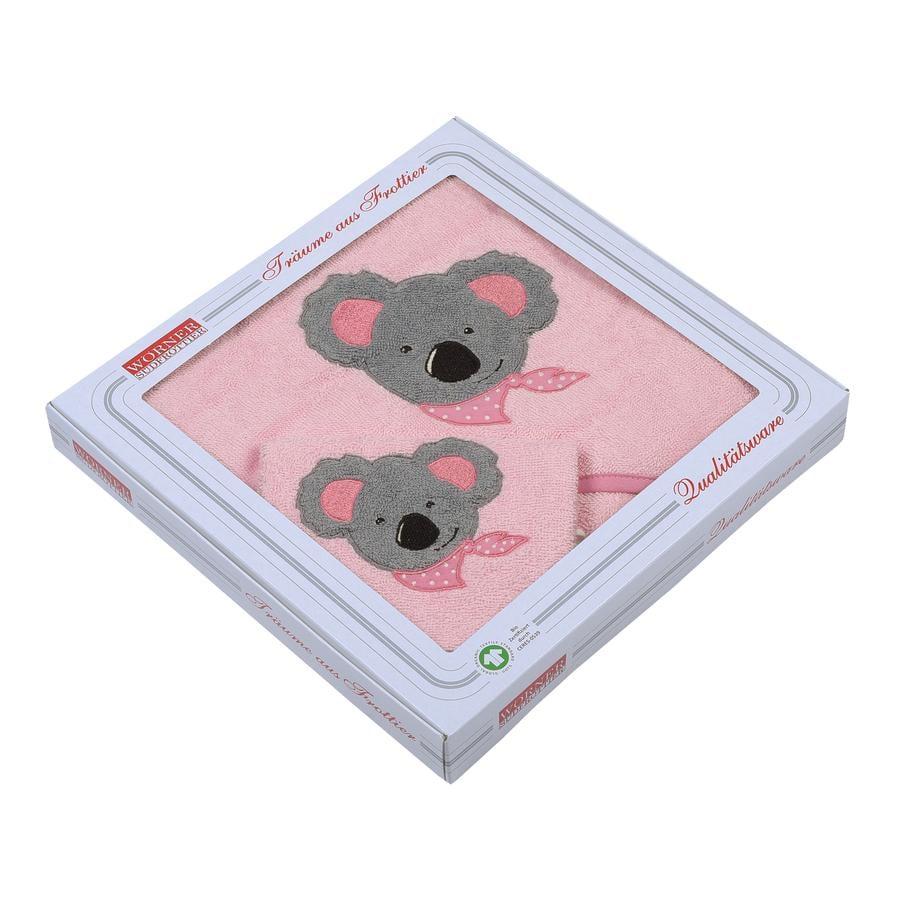 WÖRNER SÜDFROTTIER Set asciugamano da bagno con cappuccio e guanto da lavaggio Koala rosa 80 x 80 cm