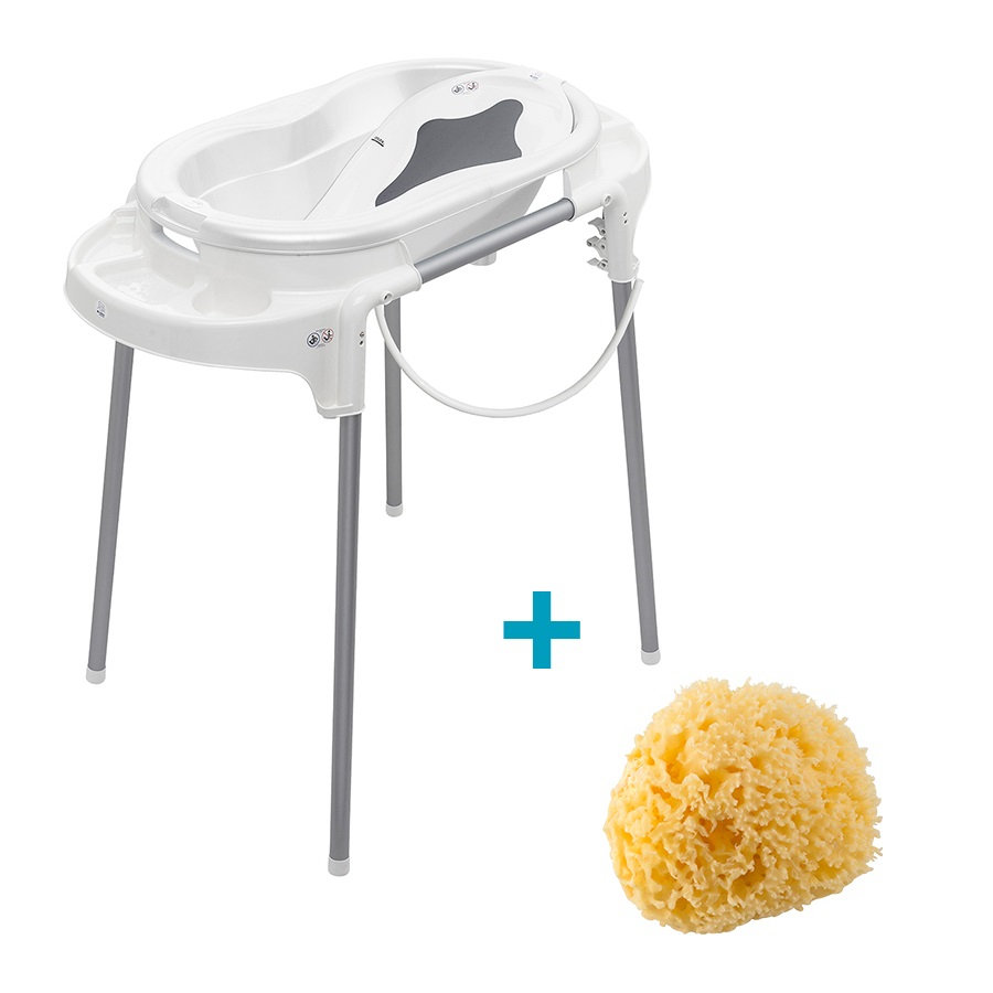 Rotho Babydesign Baignoire à pieds bébé TOP blanc 4 pièces, gant gratis