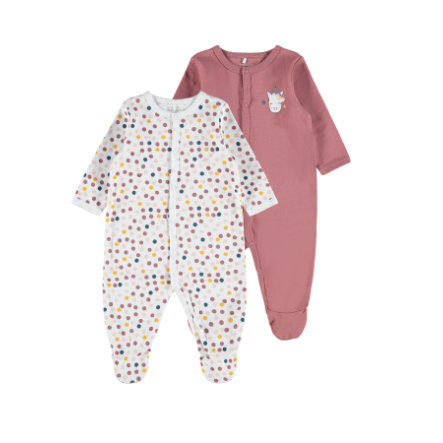 name it Combinaison pyjama enfant Whitered Rose lot de 2
