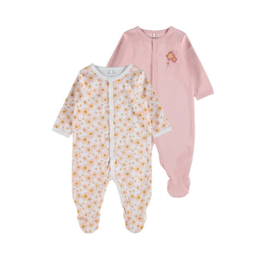 name it Pacchetto Sleepoverall 2 pack Silver Rosa