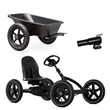 BERG Pedal Go-Kart Buddy Black Set (inkl. Anhängerkupplung Junior Trailer und Anhänger Junior)
