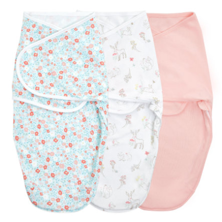 aden + anais™ essential s easy swaddle™ Wrap-around pucksack 3-pack sprookje flower