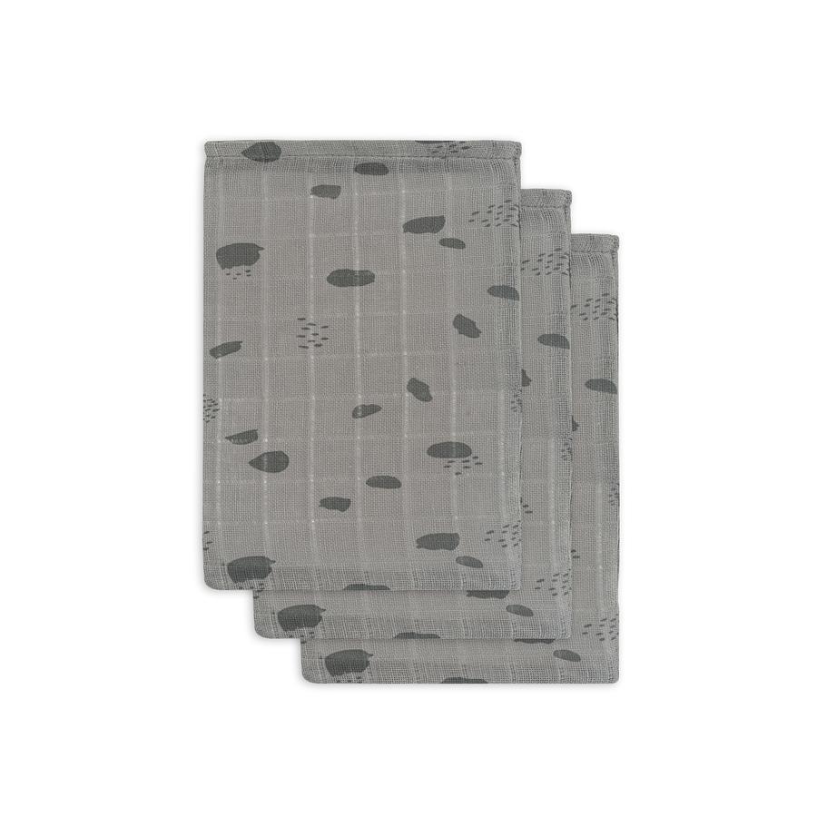 jollein Mullwaschlappen Spot storm grey 3er Pack