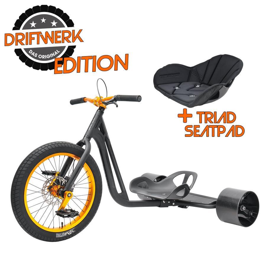 TRIAD Driftwerk Drift trike dérivateur tricycle enfant Notorious 4, mat noir/orange édition Driftwerk, coussin