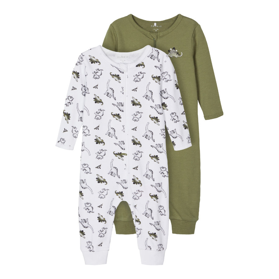 name it Sleepoverall 2 pack loden Green Dino