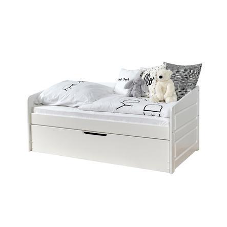 TiCAA Łóżko Sofa Mini Micki Buk biały z dodatkowym łóżkiem z 2 materacami