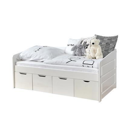 TiCAA Lit enfant avec tiroirs de rangement Mini Micki hêtre blanc 4 tiroirs, matelas 80x160 cm