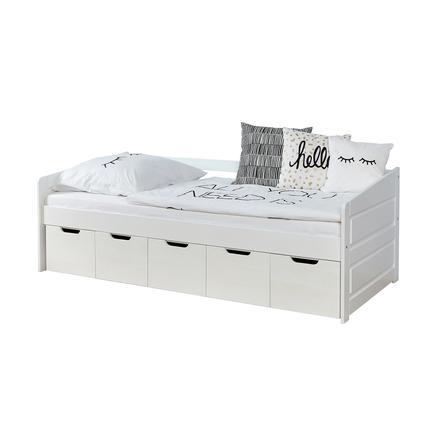 TiCAA Lit enfant avec tiroirs de rangement Micki hêtre blanc, 5 tiroirs 90x200 cm