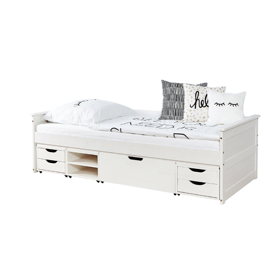 TiCAA Lit enfant avec tiroirs de rangement Theodor pin blanc, 4 tiroirs 90x200 cm