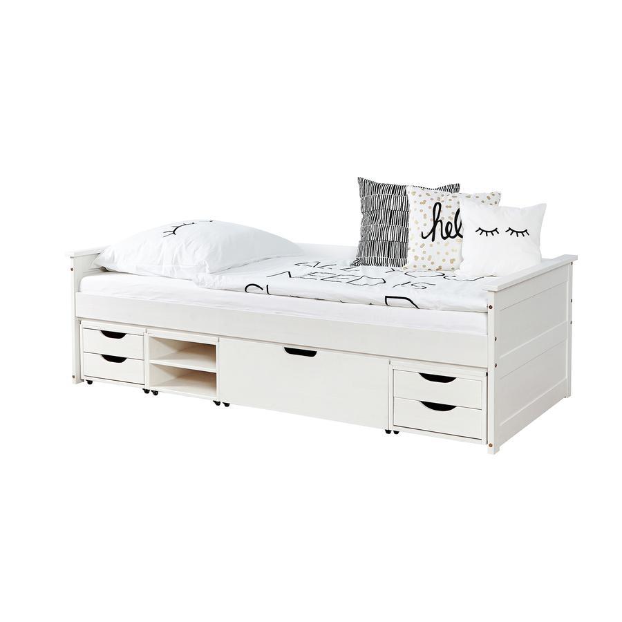 TiCAA Sofabett Theodor 90 x 200 cm Kiefer weiß mit 4 Funktionsschubladen
