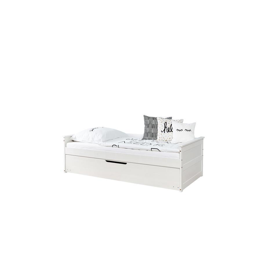 TiCAA Sofabett Theodor 100 x 200 cm Kiefer weiß mit Zusatzbett