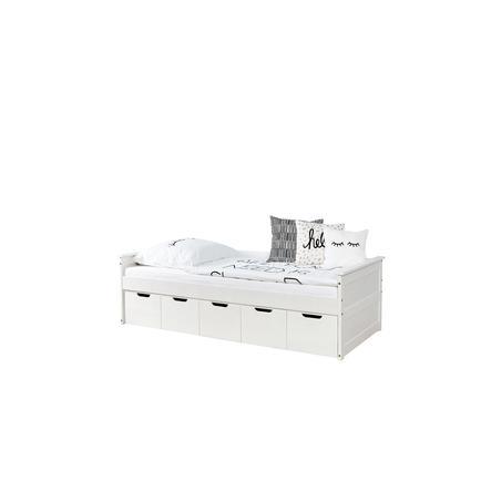 TiCAA Sofabett Theodor 100 x 200 cm Kiefer weiß mit 5 Schubladen