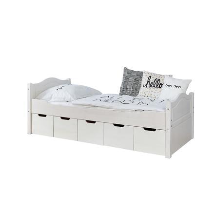 TiCAA Lit simple enfant avec tiroirs de rangement Leni pin blanc, 5 tiroirs 90x200 cm