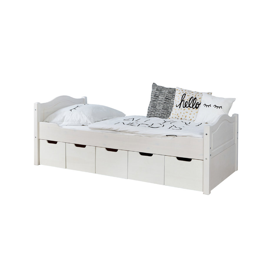 TiCAA Einzelbett Leni 90 x 200 cm Kiefer weiß mit 5 Schubladen