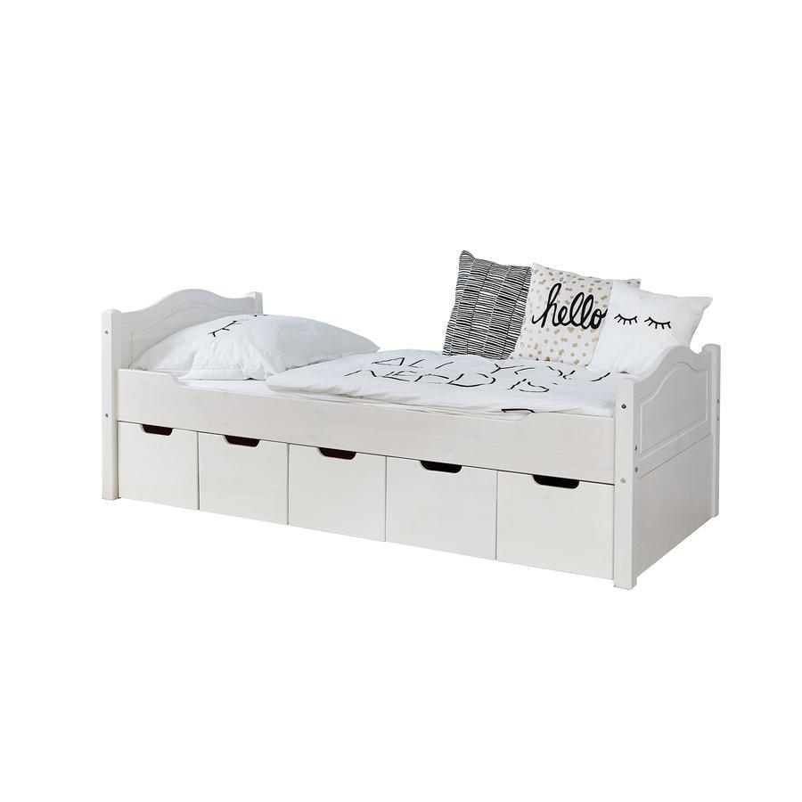TiCAA Pojedyncze łóżko Leni 90 x 200 cm biała sosna z 5 szufladami aden