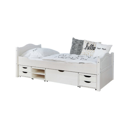 TiCAA Einzelbett Leni 90 x 200 cm Kiefer weiß mit 4 Funktionsschubladen