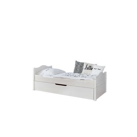 TiCAA Pojedyncze łóżko Leni 100 x 200 cm Kiefer biały z dodatkowym łóżkiem