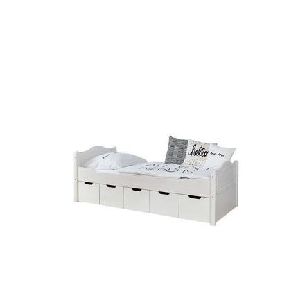 TiCAA Pojedyncze łóżko Leni 100 x 200 cm biała sosna z 5 szufladami aden