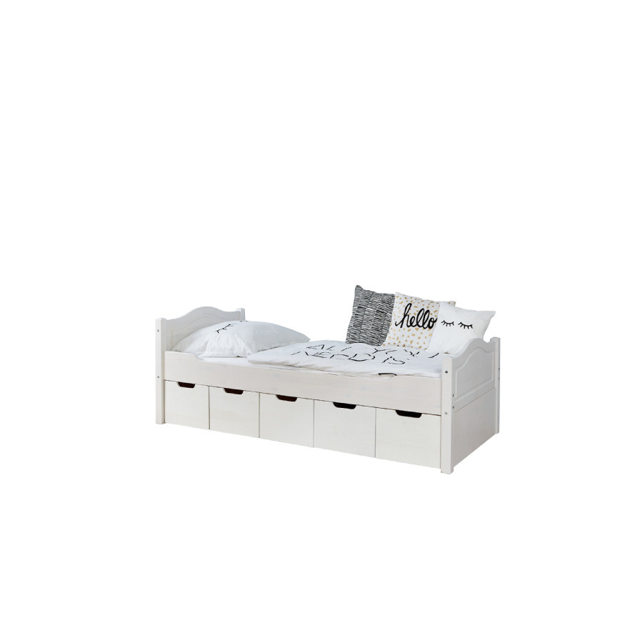 TiCAA Lit simple enfant avec tiroirs de rangement Leni pin blanc, 5 tiroirs 100x200 cm